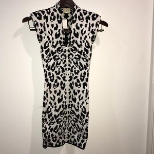 Torn by Ronny kobo white cheetah print dress